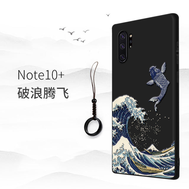 Great Emboss Phone case For Samsung galaxy Note 10 Plus note10+ cover Kanagawa Waves Carp Cranes 3D Giant relief case note 9 10