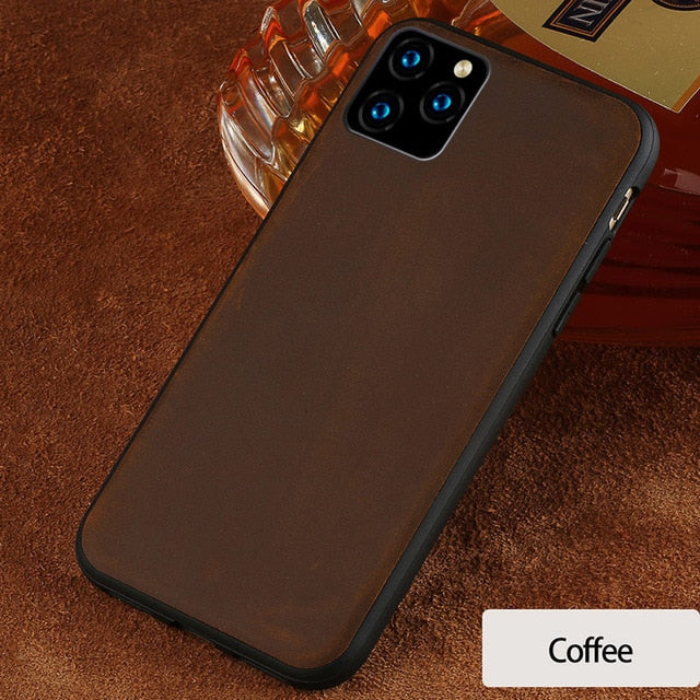 Genuine PULL-UP Leather Mobile Phone case for iphone 11 11Pro 11 Pro Max X XR XS Max 6 6S 7 8 plus se 360 Full protective Luxury
