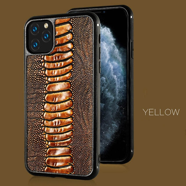 Luxury Genuine Cow Leather Ostrich Feet Grain Cell Phone Case FHX-YJ for iPhone 6 6s 7 Plus 8 Plus X XS MAX XR 11 11 Pro MAX