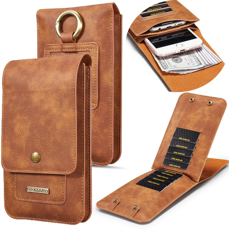Universal Phone Bag for Iphone XS MAX XR X 6 7 8 Genuine Leather Belt Clip Waist Wallet Case Cover for Samsung S8 S9 All