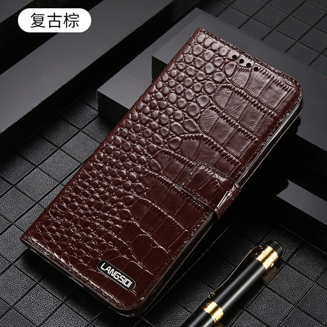 Genuine Leather Flip cover phone case for iPhone 11 Pro 11 Pro max X XS XR XS max  6 7 8 plus Luxury crocodile protective cover