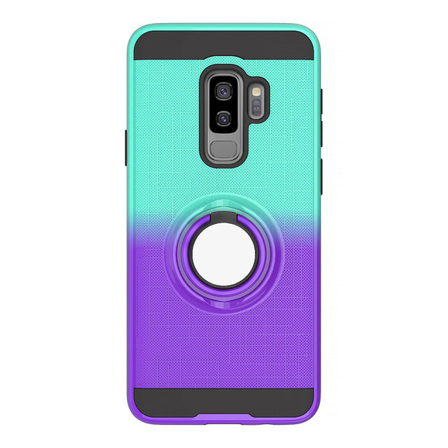 Finger holder case for samsung S9 S9plus S10 S10plus S10 lite note9 note10 pro Color stitching 360 Rotating ring back cover capa