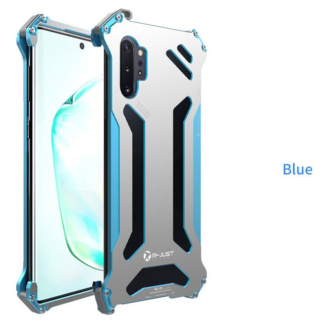 for Samsung S10 5G S9 S8 Plus Aluminum Metal Case Bumper Shockproof Cover for Samsung Galaxy Note 9 10 Plus Armor Doom Hard Case