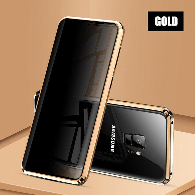 Privacy Metal Magnetic Tempered Glass Phone Case For Samsung Galaxy S8 S9 S10 Plus Note 8 9 10 Magnet Antispy Protective Cover