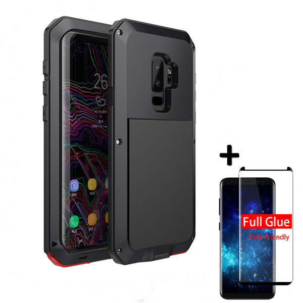 5D Full Glue Tempered Film For Samsung Note10 S10 S10P S8 S8Plus S9 S9Plus Note 8 Luxury doom Armor Case Metal Shockproof Cover