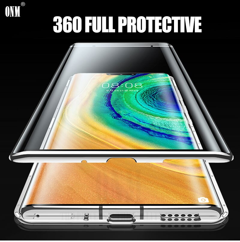 Case for Huawei Mate 30 Pro 360° Full Protection Magnetic Cases Cover for Huawei Mate 30 5G Metal double Glass Case