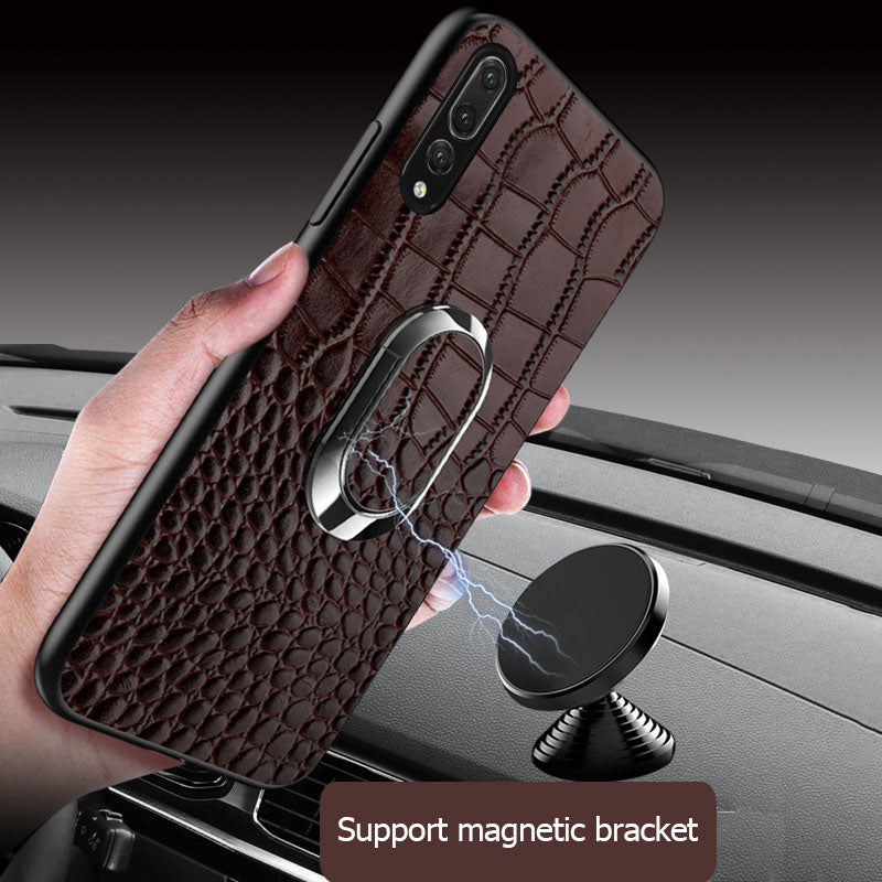 Genuine Leather phone case for huawei P20 P30 Pro mate 20 lite Y6 Y9 Magnetic bracket for honor 20 Pro 10 Lite 8X 9x 10i v20
