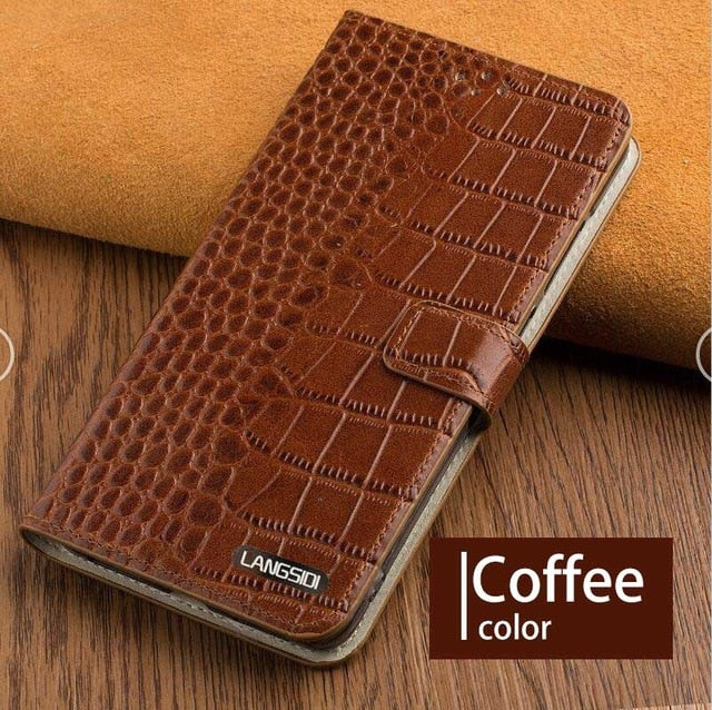 Phone Case For Xiaomi Pocophone F1 Mi 8 A1 A2 Lite Mix 2s Max 3 Original cowhide Crocodlie Texture For Redmi Note 5 Back Cover