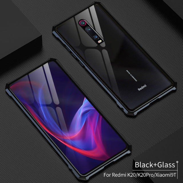Metal Case For Xiaomi Mi 9T Anti-shock Metal Aluminum Bumper & Tempered Glass Back Cover Phone Case For Redmi K20/Redmi K20 Pro