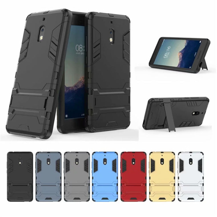 10pcs/lot New Arrival Hybrid 2 in 1 Hard PC +TPU Back Case For Nokia 2.1 X5 X6 With Stand Flexible Armor
