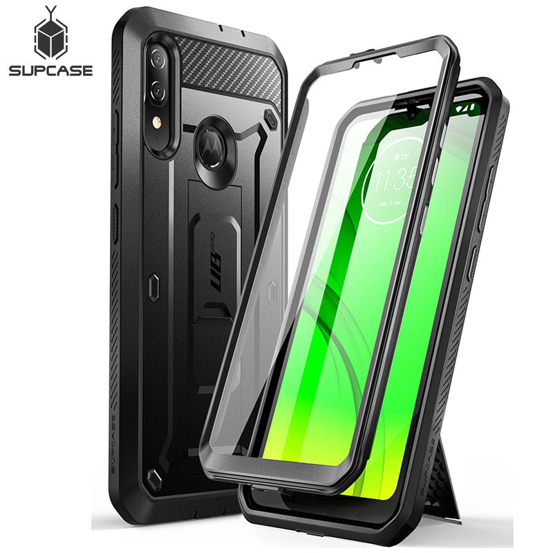 SUPCASE For Moto E6 Plus Case (2019 Release) UB Pro Full-Body Rugged Holster Protective Back Case with Built-in Screen Protector