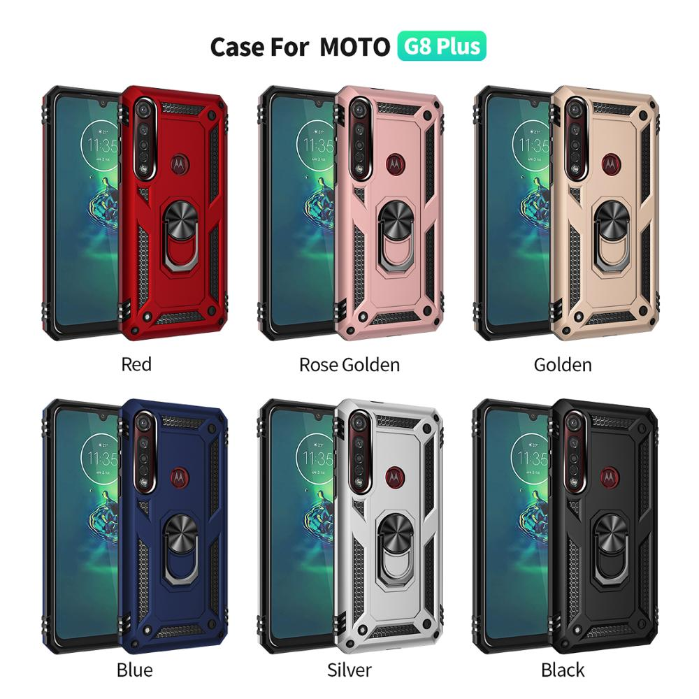 100pcs/lot Shockproof Armor Phone Case For Motorola Moto G8 PLAY G8 PLUS One Macro With Car Ring Bracket