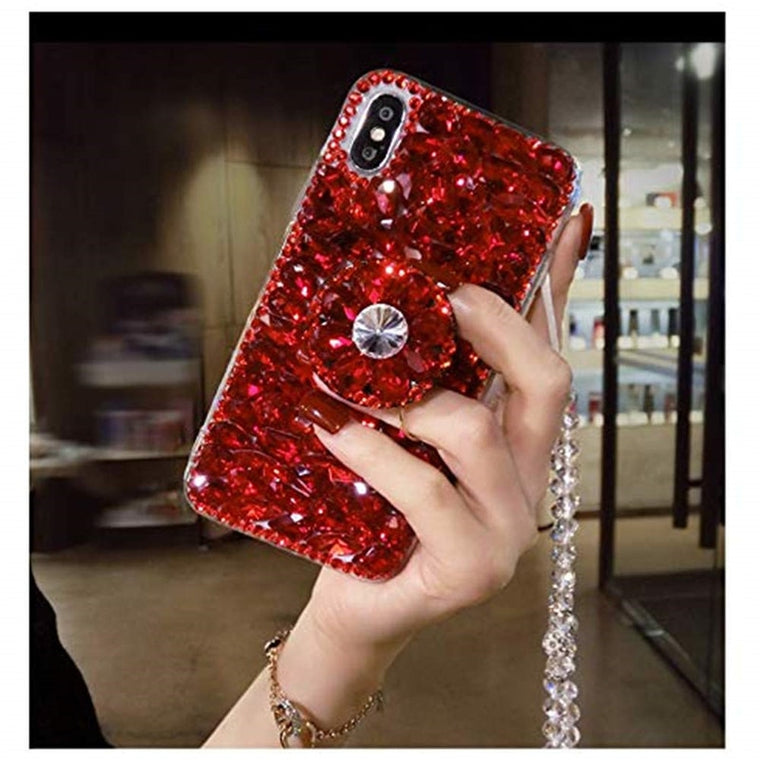 1Pcs Airbag Kickstand Luxury Sparkle Crystal Strap Glitter Phone Case For LG W10 W30 K40 K50 V20 V30 V40 V50 G6 G7 G8 G8s ThinQ