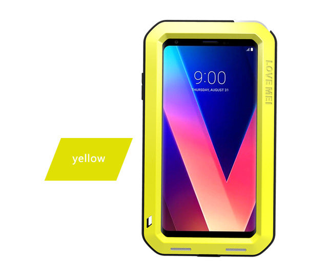 for LG V30 Love Mei brand case For LG V35 ThinQ anti-knocked Metal Aluminum Rugged with free Tempered Gorilla Glass Case Cover