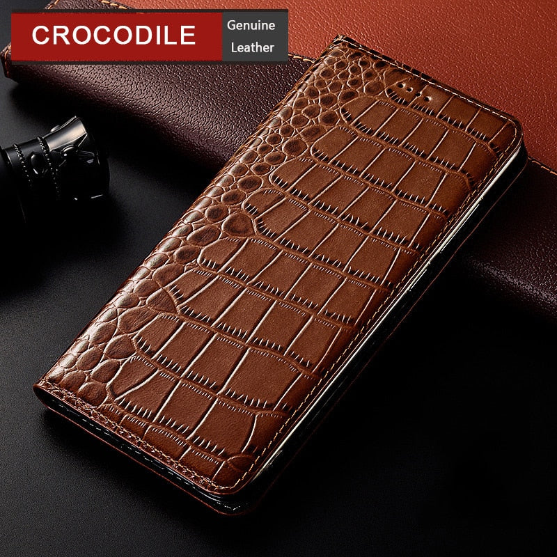 Crocodile Genuine Leather Case For HTC Desire 12 12s 19 Plus 530 610 650 626 820 826 830 Luxury Flip Cover Mobile Phone Cases