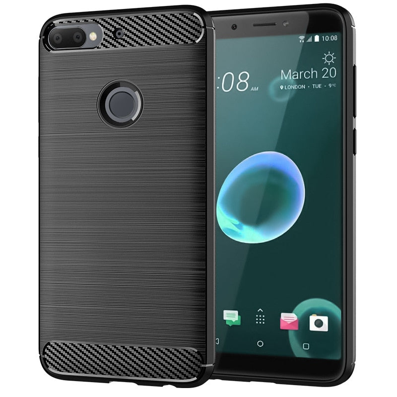 Wholesale Carbon Fiber Texture Slim Armor Brushed TPU CASE COVER FOR HTC Desire 12 Plus U12 LIFT U12 PLUS U11 LIFT  100pcs