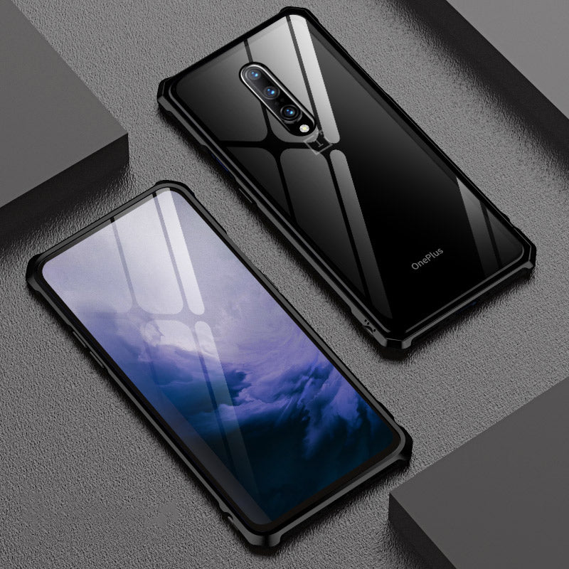 Non-slip Rhombus Aluminum Metal Bumper Case For OnePlus 7/ Pro Case Luxury Rear Tempered Glass Cover For OnePlus 7 Pro 5G Case