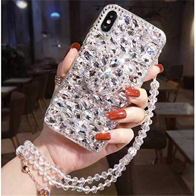 1Pcs  Airbag Kickstand Luxury Sparkle Crystal Strap Glitter Phone Case For OPPO Realme X Lite XT X2 Pro C1 C2 2 3 3i 5 5 Pro