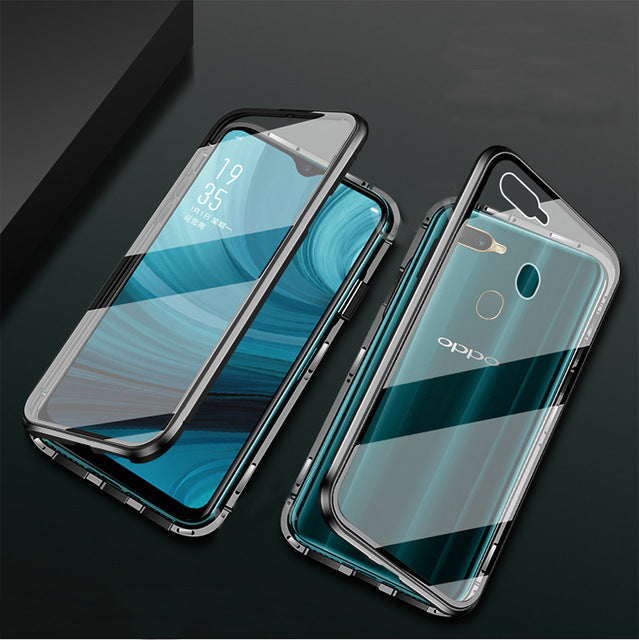 Magnetic Case 360 Front+Back Double-Sided Tempered Glass Case For OPPO A7 AX7 A7X AX7 Pro Metal Bumper Case