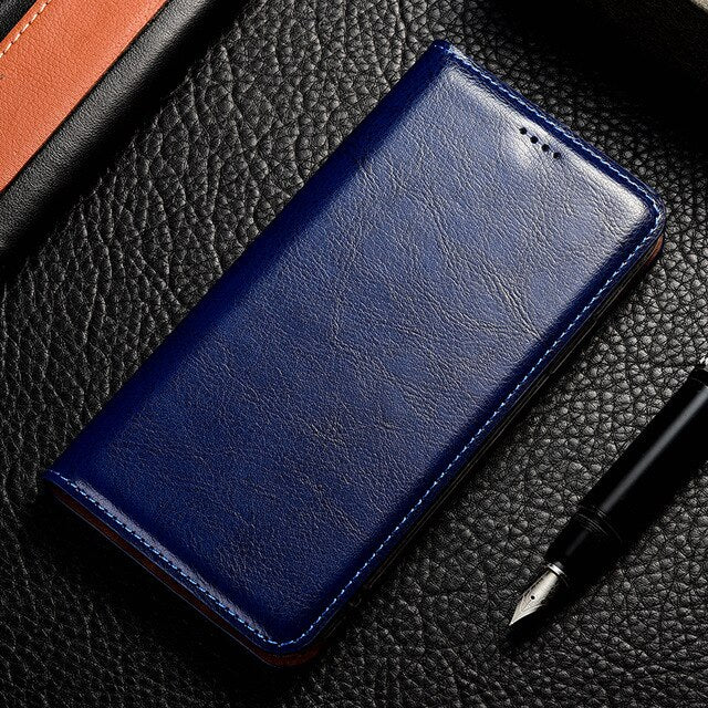 Magnet Natural Genuine Leather Skin Flip Wallet Book Phone Case On For iphone 7 8 Plus 7Plus 8Plus X XR XS 11 Pro MAX R S XSMAX