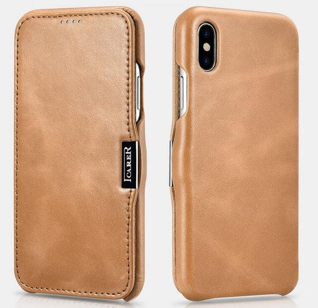 iCarer Vintage Series Side-open Genuine Flip Leather Cover for iPhone11 PRO MAX  X XS XR Real Leather Case