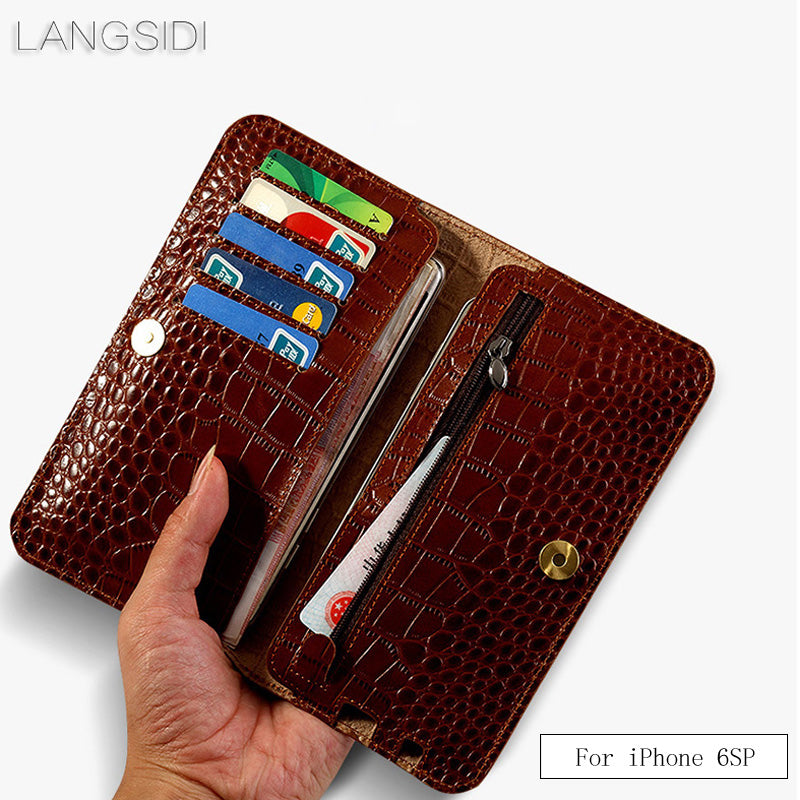 LANGSIDI brand genuine leather case crocodile texture flip multi-function phone Wallets for iPhone 6S 7 8Plus x xs 11 PRO max
