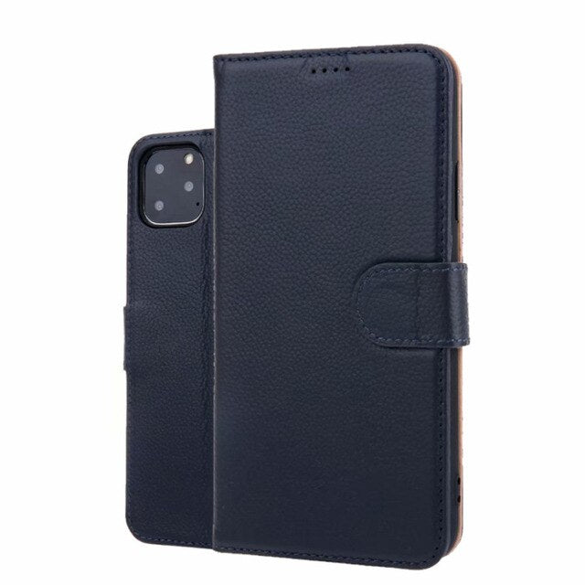 Real Genuine Leather Phone Bag Case For iPhone 11/ 11Pro/ 11Pro Max Ckhb-135a Cell Phone Card Holder Flip Cover Cases
