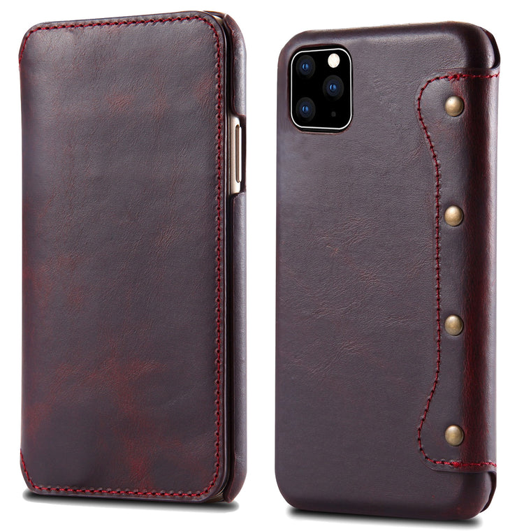 2019 New Genuine Leather Flip Cover For iPhone X XR XS 11 Pro Max 5.8 6.1 6.5 Natural Cowhide Phone Case Wallet Bags Pouch