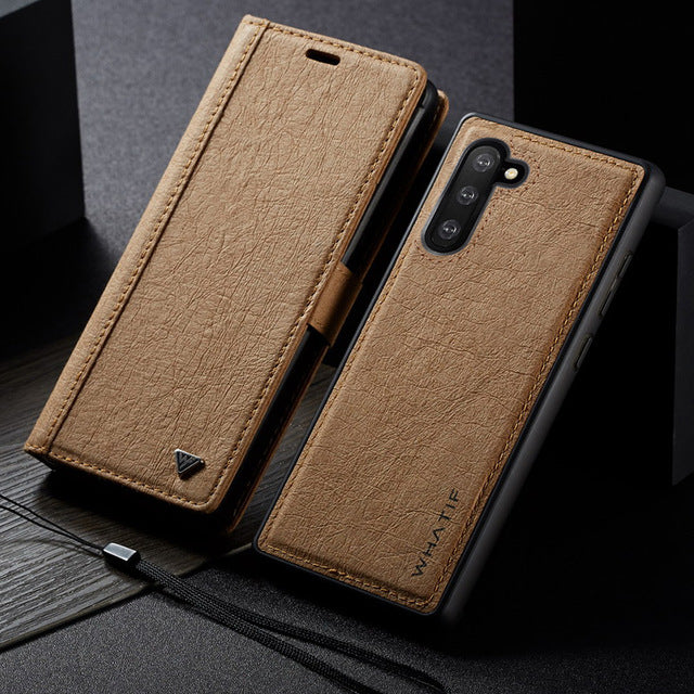 WHATIF Case For Samsung Galaxy S10 S9 S8 Note10 Plus Note 10 9 8 Kickstand Cover Detachable Kraft paper Leather Wallet Back Case