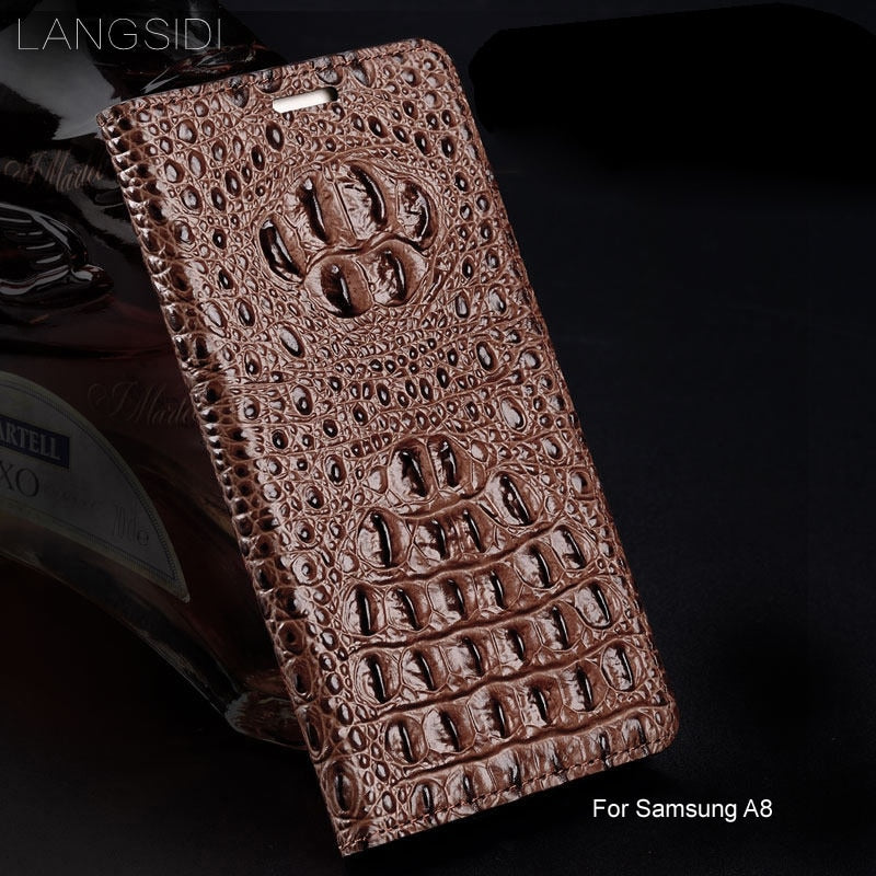 LANGSIDI Genuine Leather flip phone case Crocodile back texture For Samsung Galaxy A7 2018 A8 S7edge s8 S20 Ultra handmade coque
