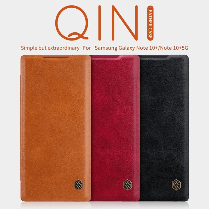 Nillkin Qin Luxury Ultra Thin Book Flip Leather Case Cover For Samsung Galaxy Note 9 10 S9 S10 Plus S10E Note10 Plus Card Slot