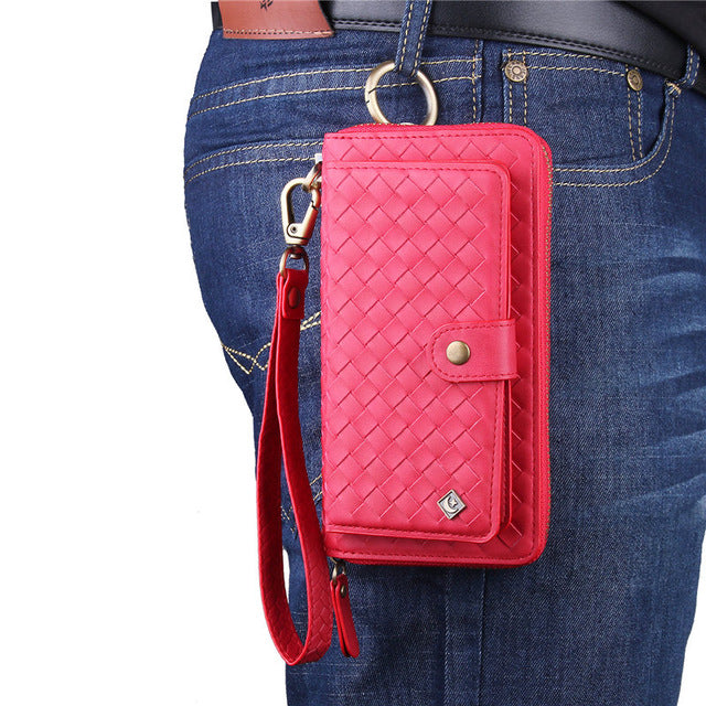 For Samsung Galaxy S8 S9 S10 Plus Lite Multi-functional fashion woven zipper Wallet Leather Case Flip Cover Mobile Phone Bag