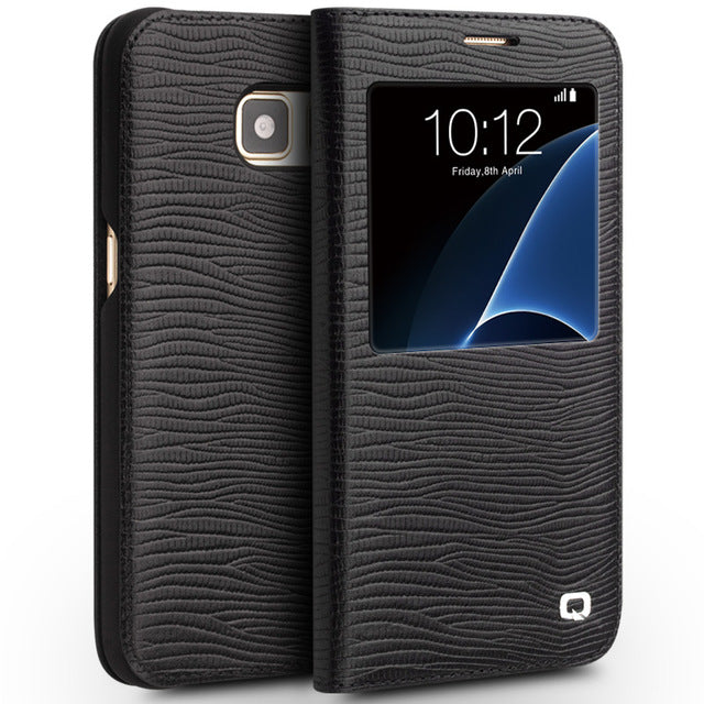 QIALINO Fashion Pattern Genuine Leather Case for Samsung Galaxy S7 Pure Handmade Cover for S7 edge for G9300 for G9350 5.1/5.5