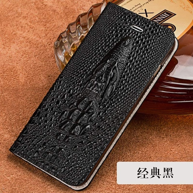 LANGSIDI Flip Card stand cover for Samsung s10 s8 s9 plus s7 edge A50 A70 A8-2018 J7 Crocodile skull Genuine Leather phone case