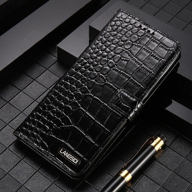 Leather Flip Phone Case For Samsung Galaxy s20 ultra plus 20+ Note 10 A8 A9 2018 Genuine leather Magnetic buckle Lanyard cover