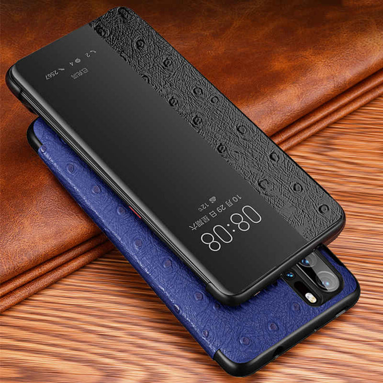 2019 Genuine Leather Case For Huawei P30 Pro Cover Intelligent Wakeup Window view Etui Coque For Huawei P30 P30Pro Case Fundas