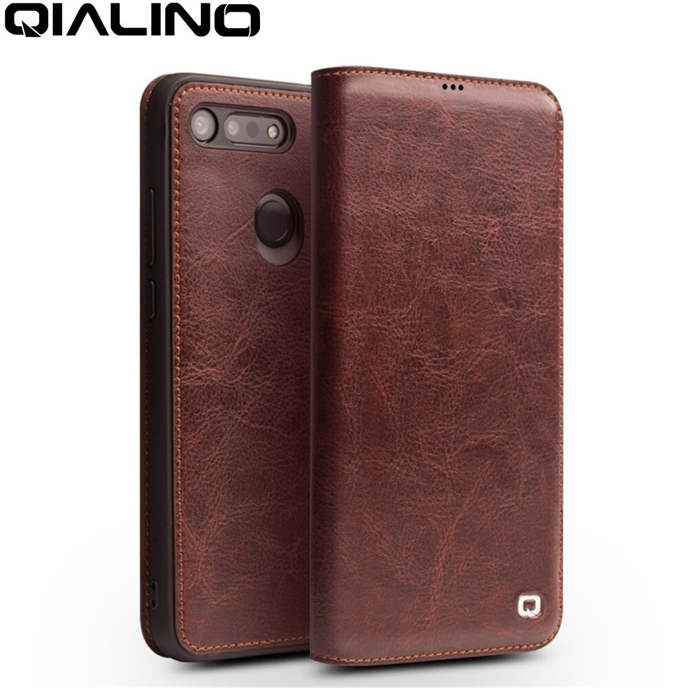 QIALINO Luxury Handmade Genuine Leather Cover for Huawei Honor V20 Ultrathin Flip Case with Card Slot for Huawei Honor View 20