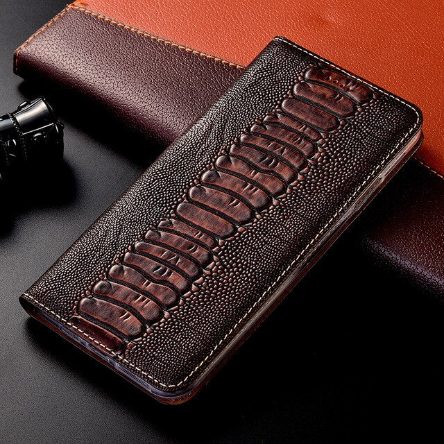 Ostrich Genuine Leather Case For Huawei Honor 5C 6A 6C 7A 7C 8 8A 7X 8C 8X 8S 9 9X 10 10i 20 SE 20S Pro Lite Flip Leather Cover