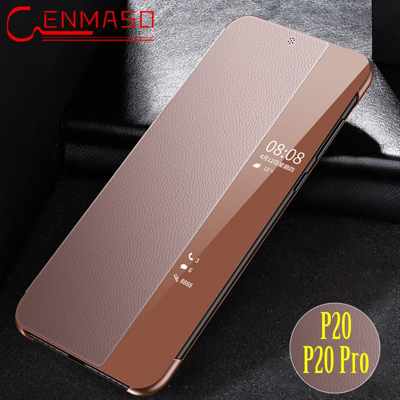 For Huawei P20 Genuine leather flip case luxury cover for Huawei P20 pro case Smart touch clear view window funda P20pro capa