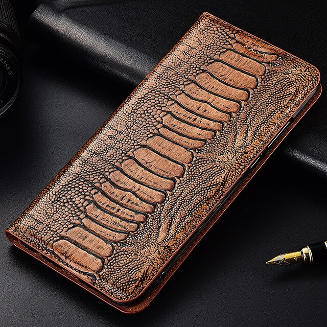 Luxury Ostrich Foot Grain Stand Flip Case For Huawei Honor 8 8A 8C 8X 9X MAX Pro Cover Genuine Cowhide Leather Phone Case