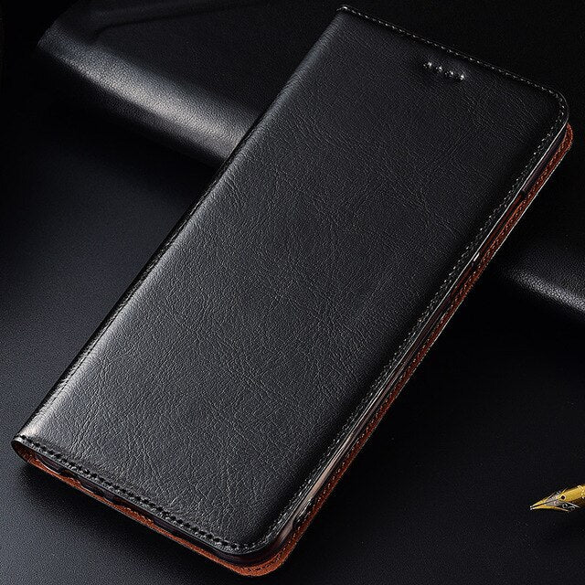 Genuine Cow Leather Case For Xiaomi Redmi 4 Pro 4A 4X 5 5A 6 6A 7 Pro Plus Magnetic Case Stand Flip Phone Cover