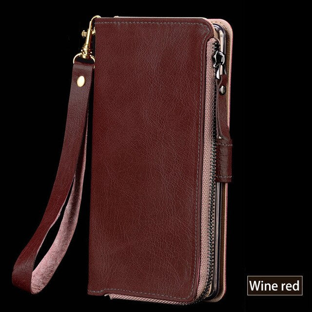 Multi-functional Zipper Genuine Leather Case For Xiaomi Redmi 4 Wallet Stand Holder Silicone Protect Phone Bag Cover