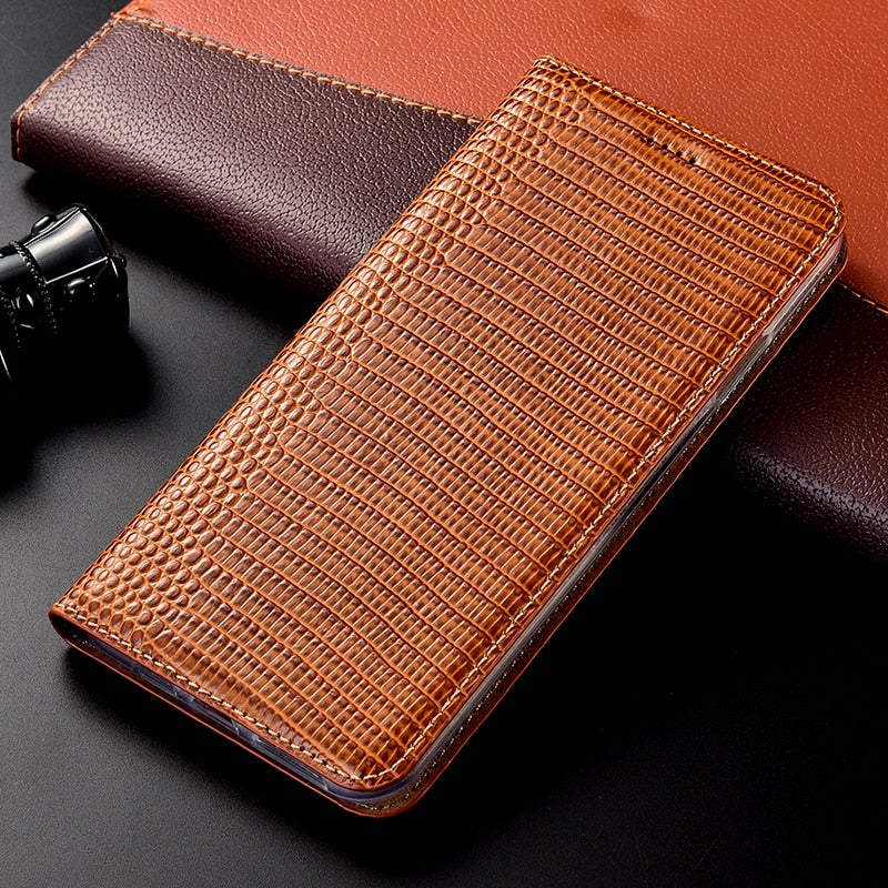 Lizard pattern Genuine Leather Case For Xiaomi Mi Note Max Mix 2 2S 3 PocoPhone F1 Black Shark 2 With magnet Flip Phone Cover