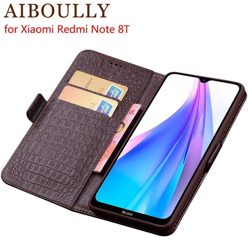 Genuine Leather Flip Case For Xiaomi Redmi Note 8T Protective Phone Cover Leather Wallet Silicon Cases For Redmi Note 8 T