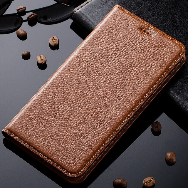 Natural Genuine Leather Magnet Stand Flip Cover For Microsoft Nokia Lumia 950 XL 950XL Luxury Mobile Phone Case + Free Gift