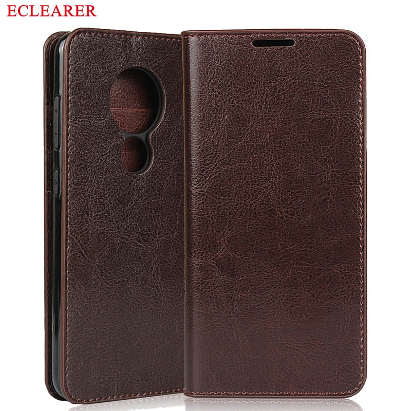 ECLEARER Wallet Case For Nokia 7.2 Genuine Leather Case Vintage Card Slots Flip Cover For Nokia 7.2 Luxury Phone Cases Bags