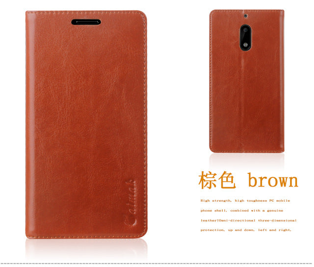 Sucker Cover Case For Nokia 6 High Quality Luxury Cowhide Genuine Leather Flip Stand Mobile Phone Bag + Free Gifts