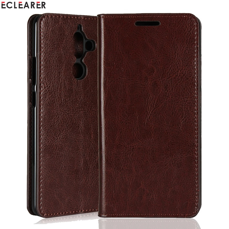 ECLEARER Wallet Case For Nokia 7 Plus Genuine Leather Case Vintage Stand Card Slots Flip Case For Nokia 7 Plus Phone Cover Coque