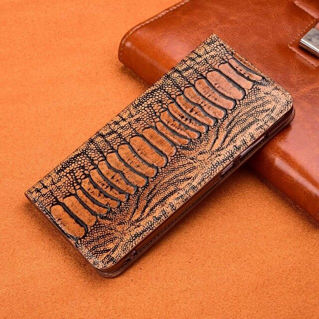 Ostrich Foot Grain Phone Case For Nokia X7 X71 7.1 3.1 Plus 9 Pureview Cover Flip Stand Card Pocket Genuine Leather Case