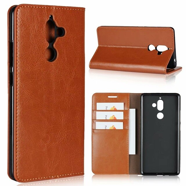 Case For Nokia 7 Plus Leather Wallet Cover Case Flip case card holder Cowhide holster